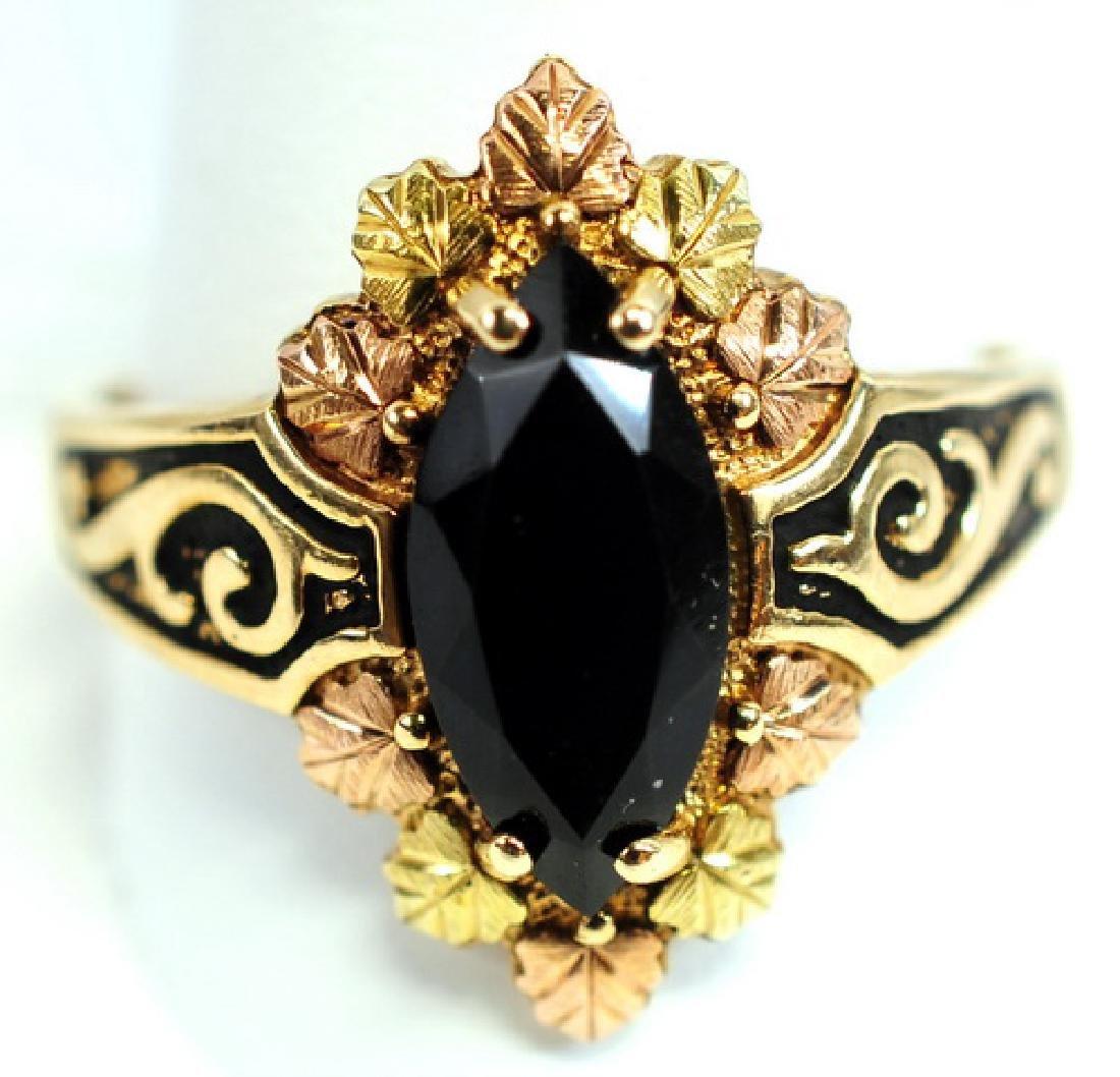 Ladies Tri Color Gold Onyx 10K Ring