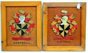 Pair of carved name sake wall plaques by Cm Ela