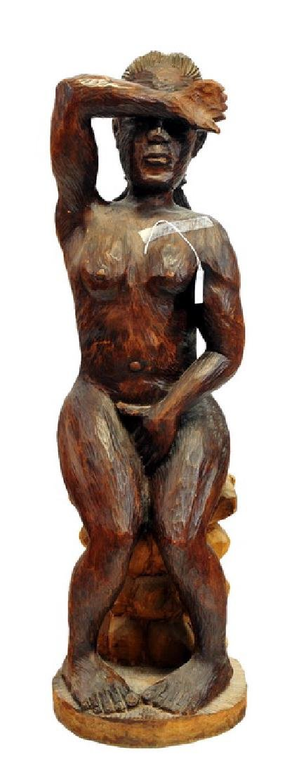 Carved Wooden Nude sculpture of Lady