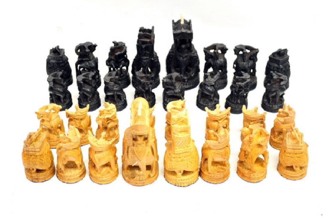 Vintage India Sandalwood Ebony Hand Carved Chess