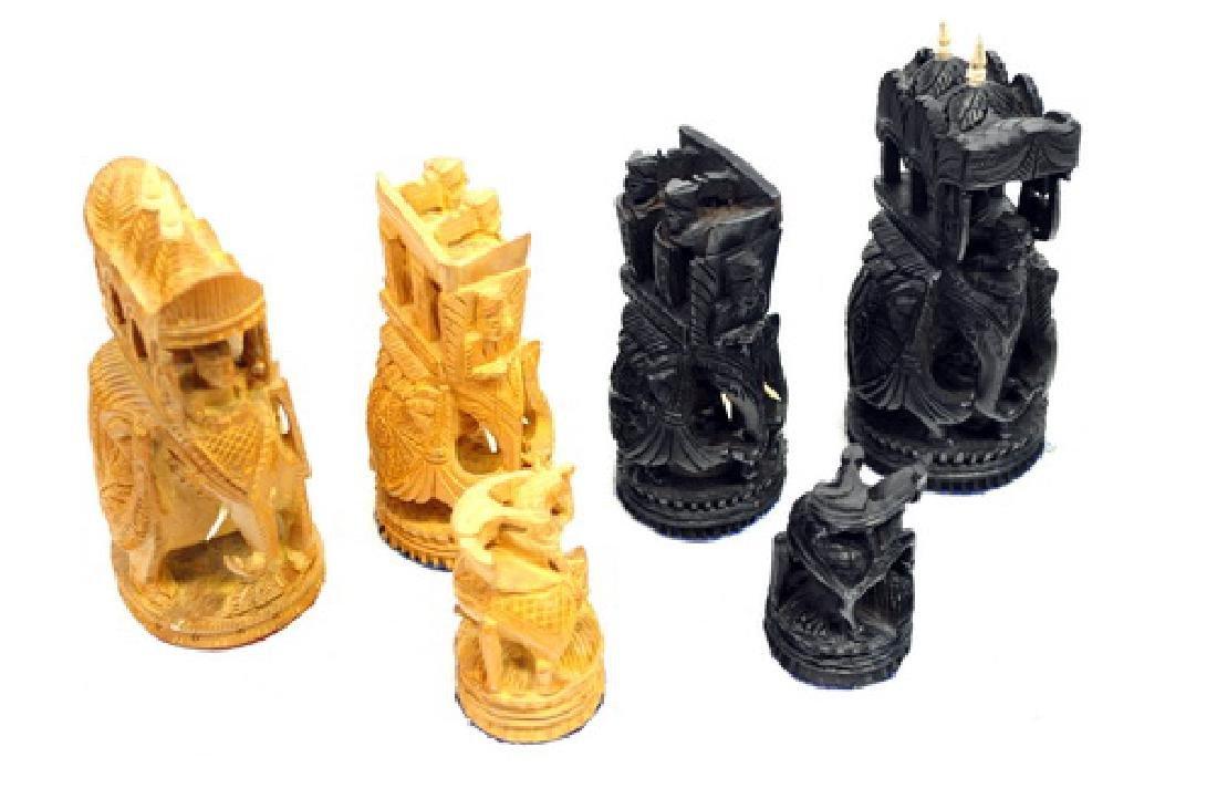 Vintage India Sandalwood Ebony Hand Carved Chess - 2