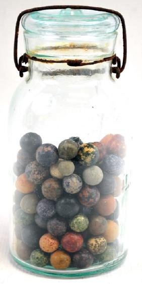 Estate Mason Jar Filled With Clay Marbles