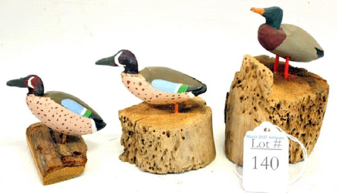 Three Piece Maine Mini Carved Ducks Folk Art