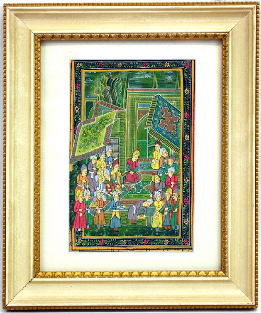 Two water colors of Indian miniature art