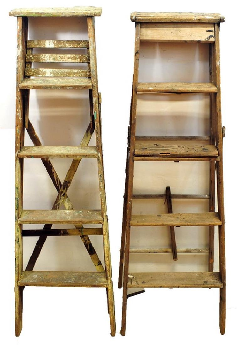 2 Five feet high wooden ladders