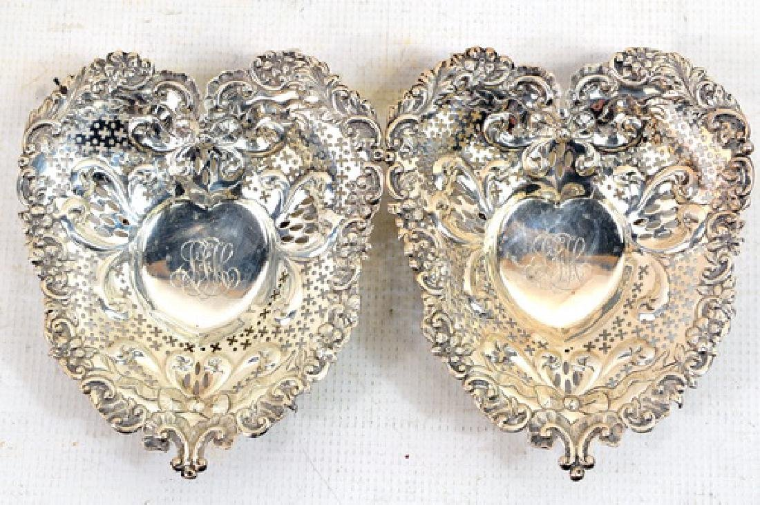 Pair of Shreve Crump and Low Sterling Heart Dishes