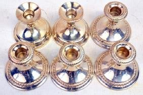 Three Sets of Sterling Weighted Candlesticks