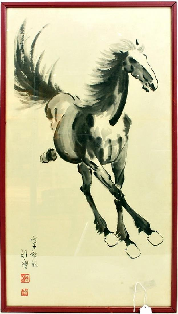 Pair of Asian Horse Prints Artist Signed