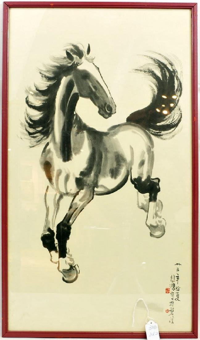 Pair of Asian Horse Prints Artist Signed - 3