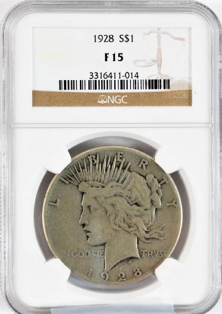 US 1928 $1 Silver Peace Dollar KEY DATE NGC Fine