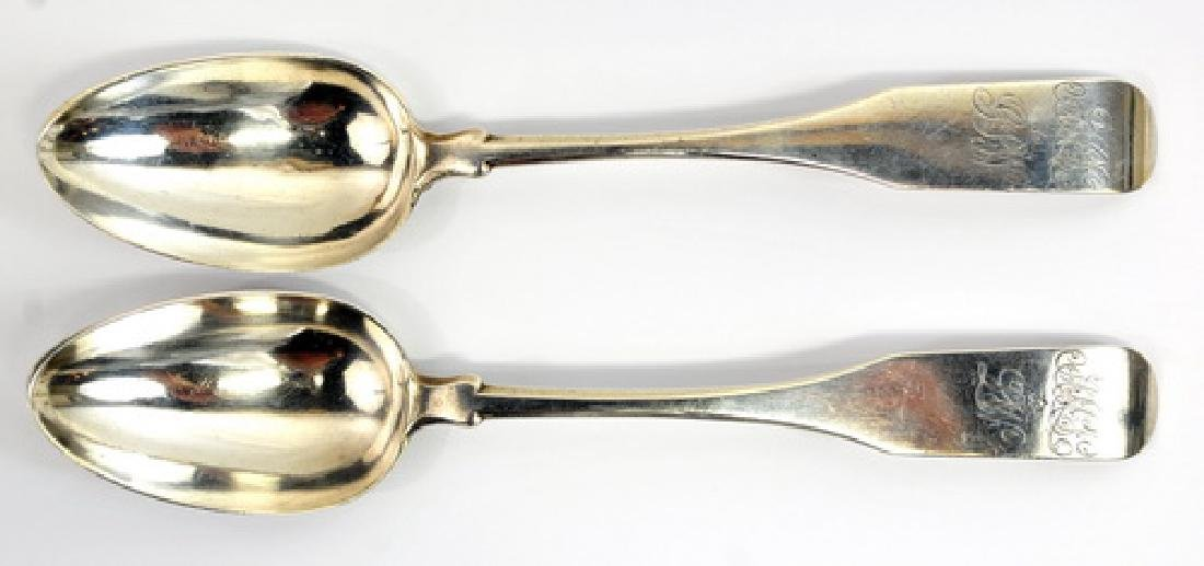 Pair Of Coin Silver Serving Spoons Ca 1760-1839