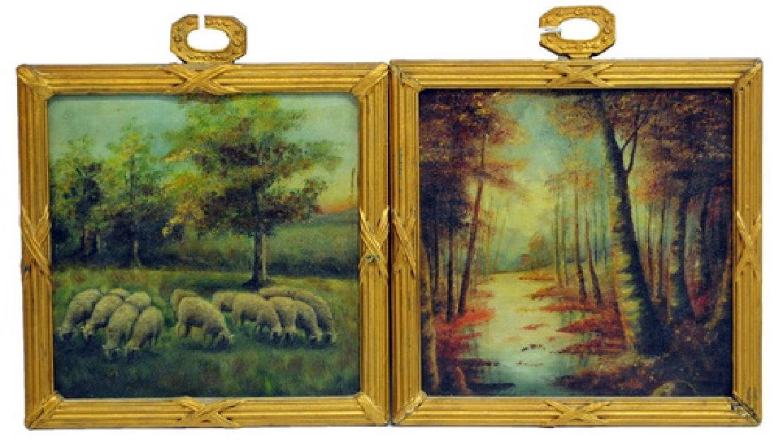 Pair of Antique Oil On Boards