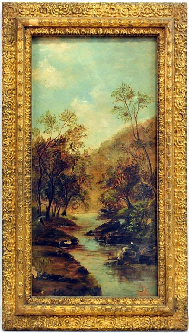 Antique Oil On Board Landscape Unsigned