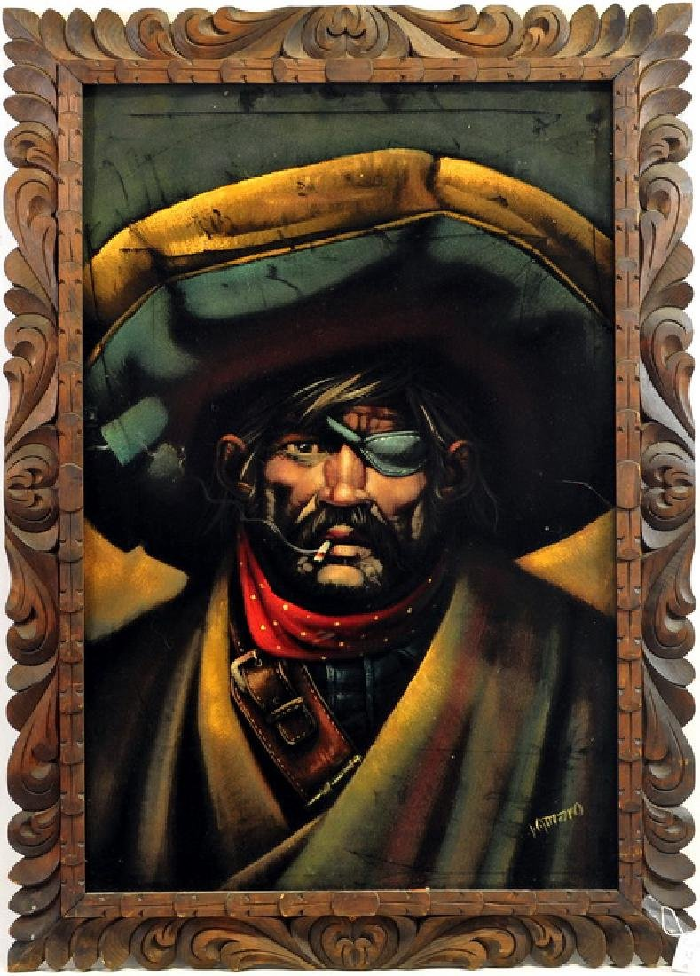 Oil On Velvet of a pirate by Lamaro