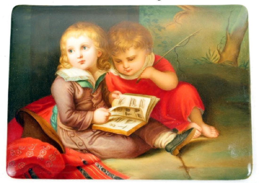 Antique Hand Painted Plaque Depicting Children