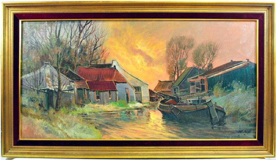 Oil On Canvas Fishing Village by A. Aarland