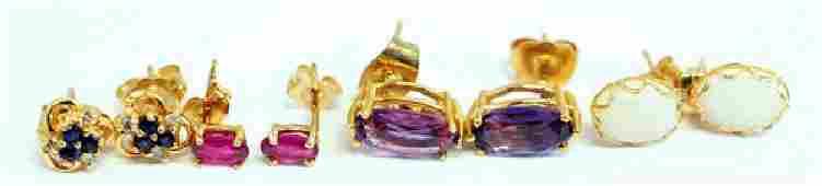Ladies 14K Yellow Gold gemstone earrings 4 pair
