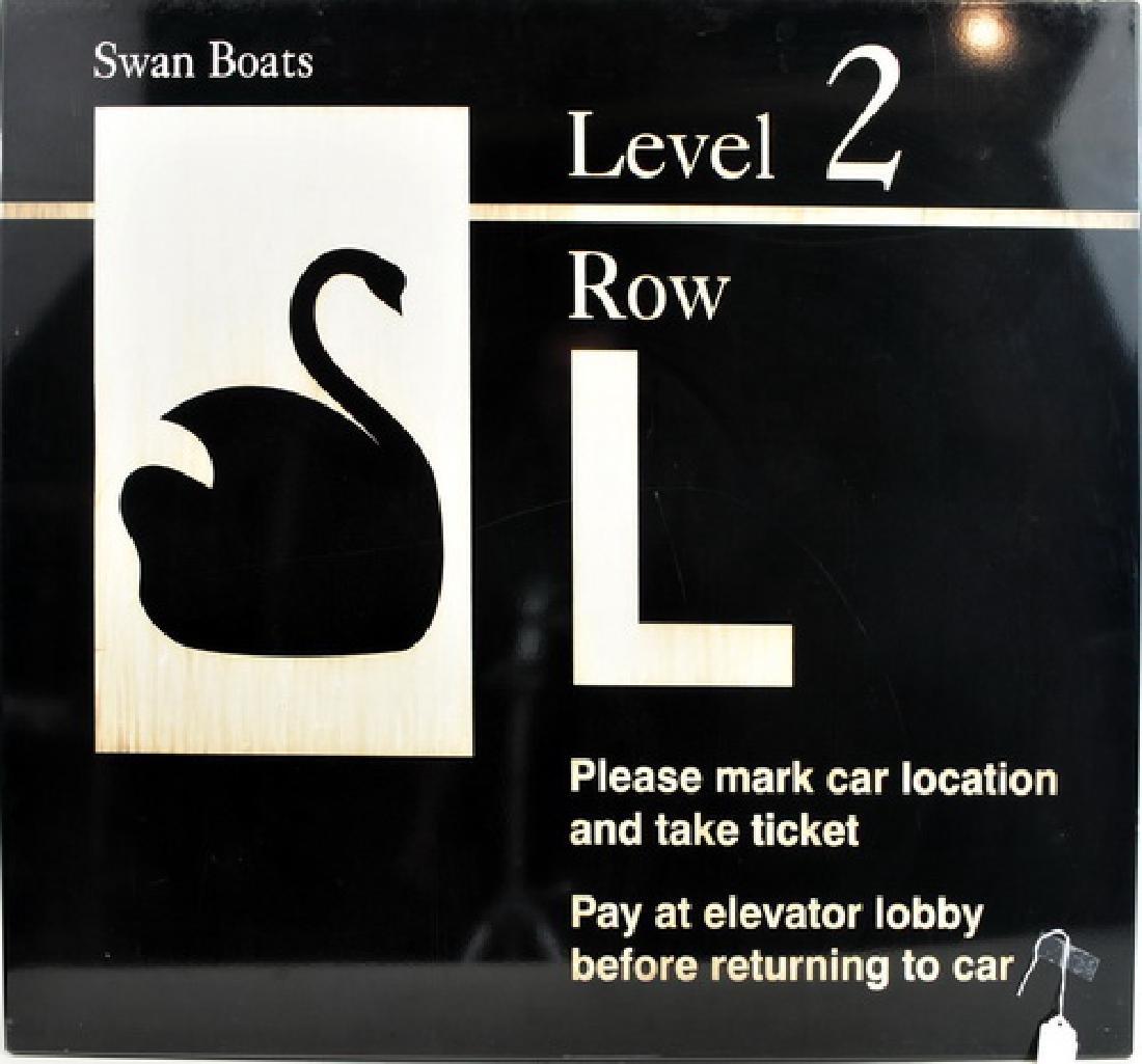 Vintage Boston Logan Airport Swan Boat Sign