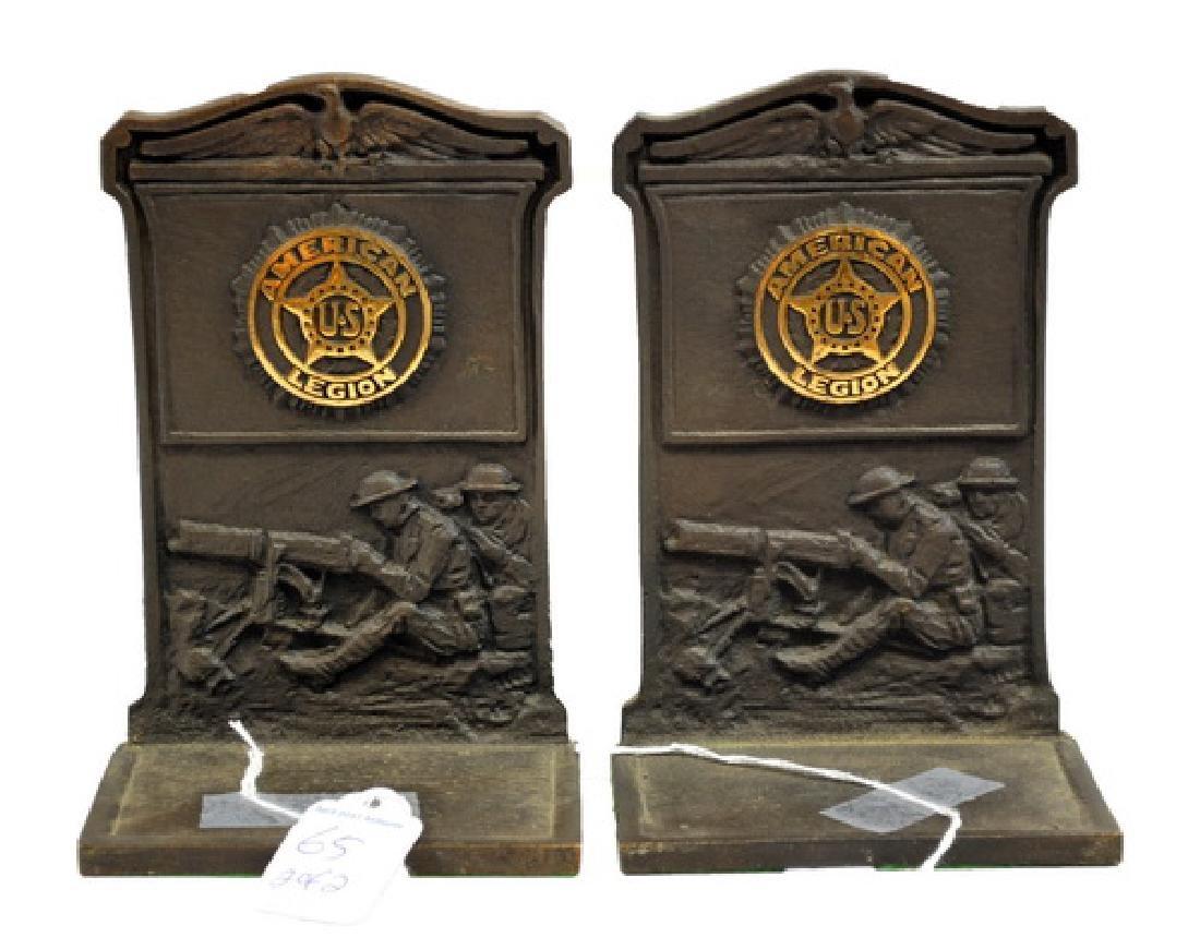 Pair of WWI Era American Legion Bronze Bookends