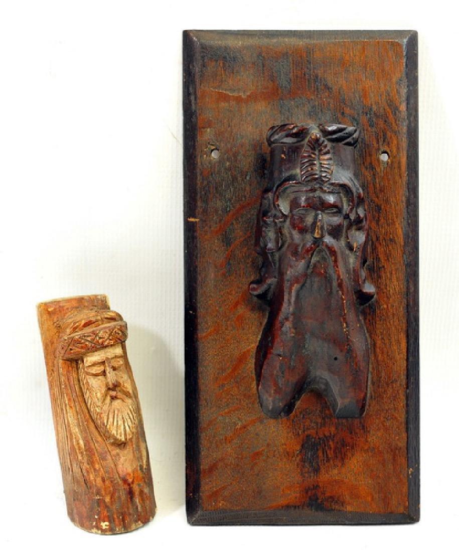 Two Antique Old Man Folk Art Items/Match Holder