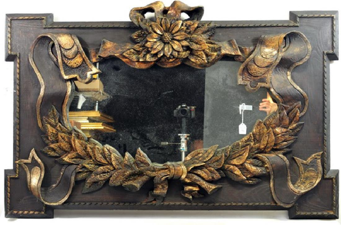 "Vintage Ornate Floral & Ribbon Mirror 53""x33"""