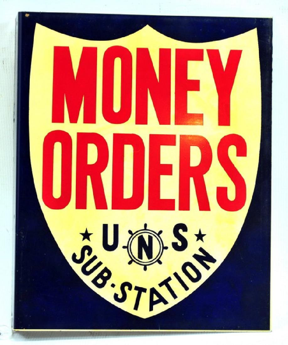 Vintage US Navy Money Order Two Sided Sign