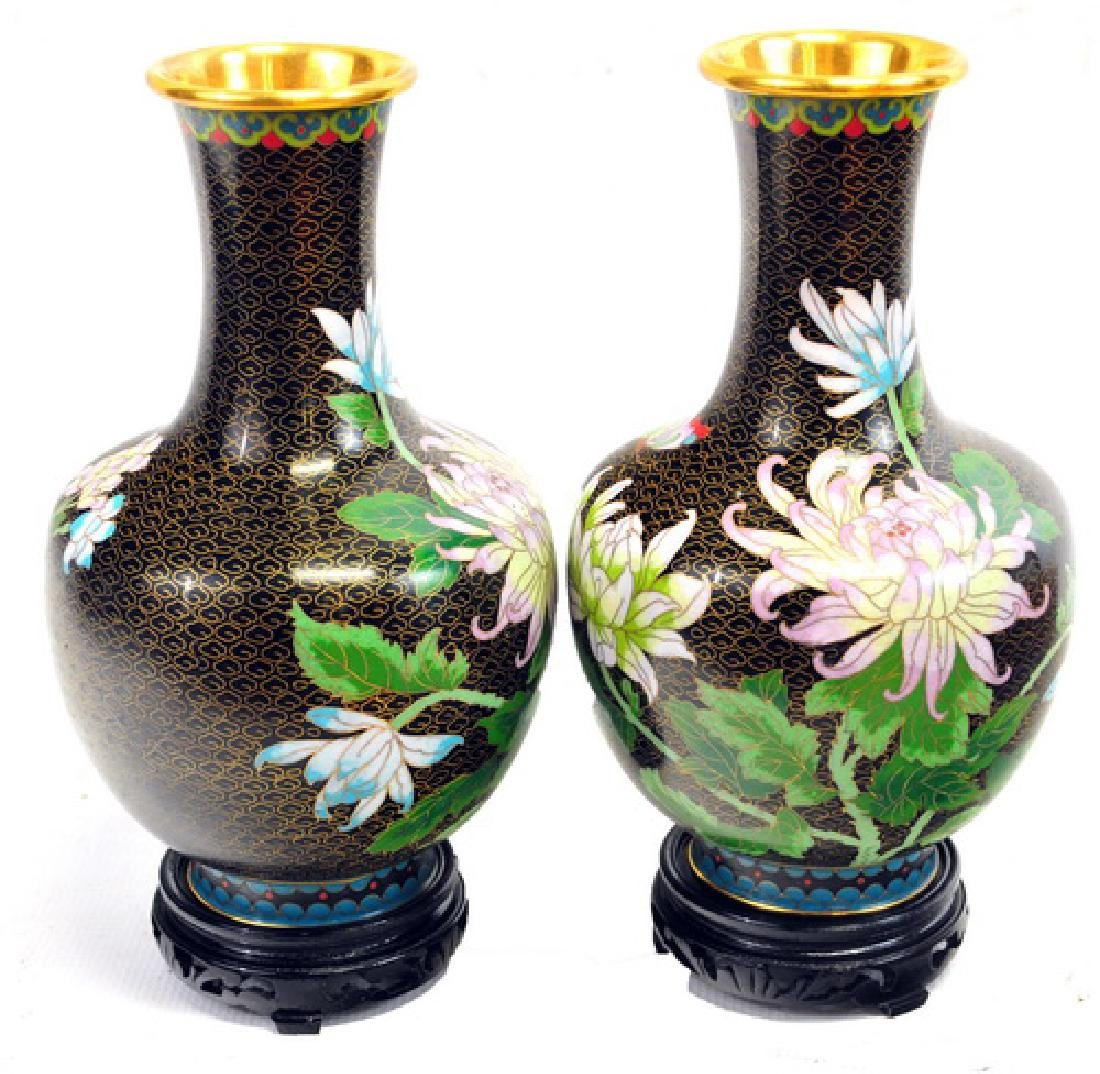 Pair of Cloisonné Vases with Stands