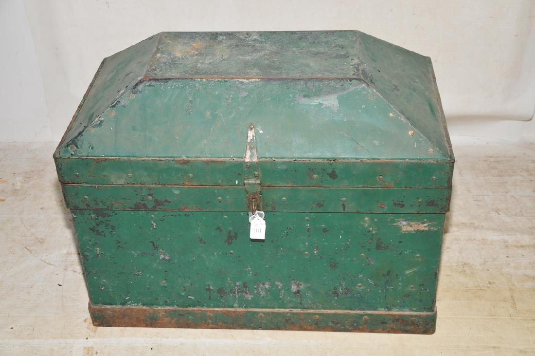 Antique Tin And Steel Tool Box In Old Green Paint
