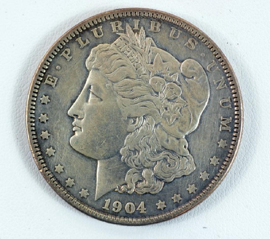 Three 1904 Morgan Silver Dollars P, O, S
