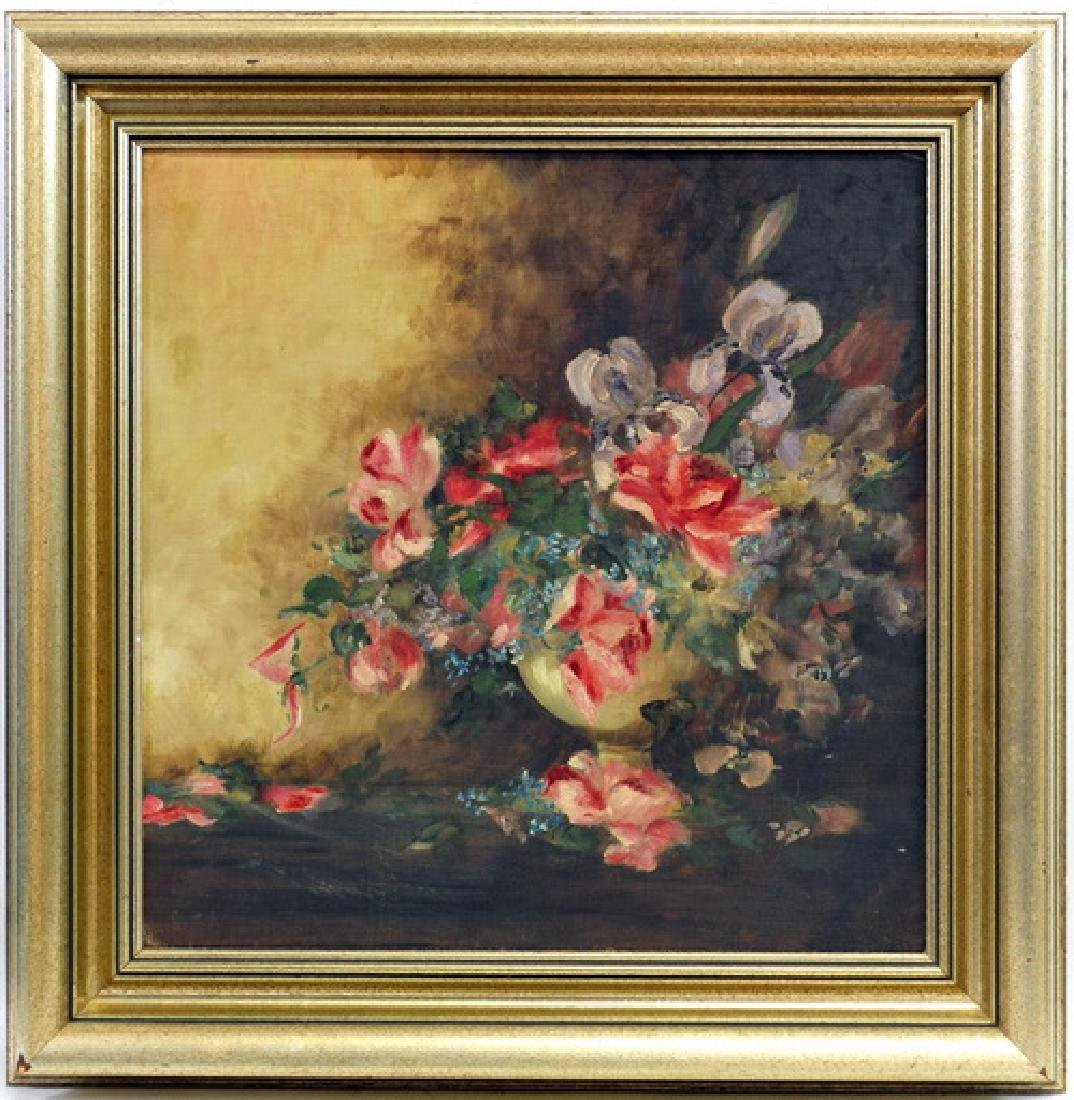 Oil On Board Decorative Floral Unsigned