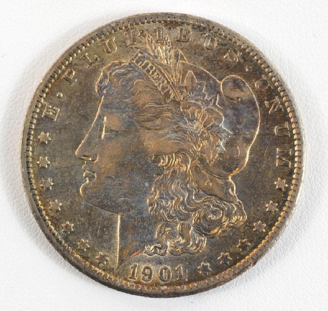 Three 1901 Morgan Silver Dollars P, O,S