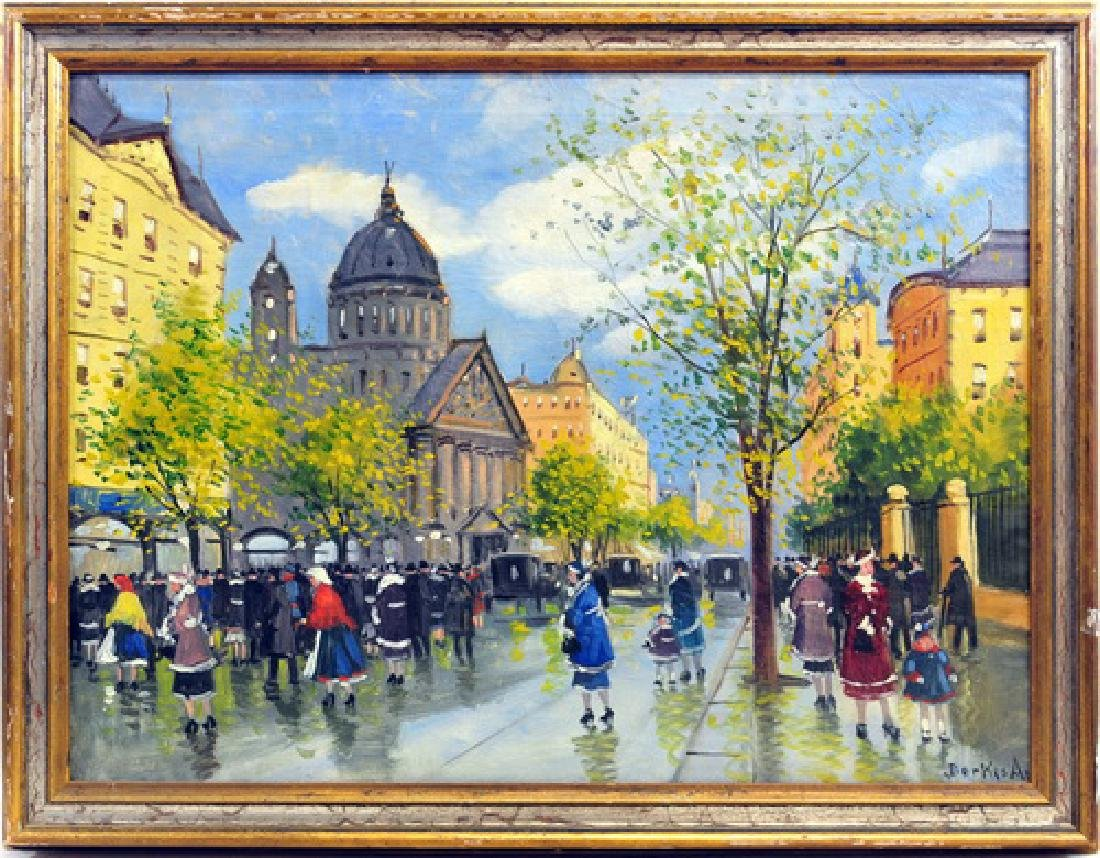 Vintage Oil On Canvas European Scene