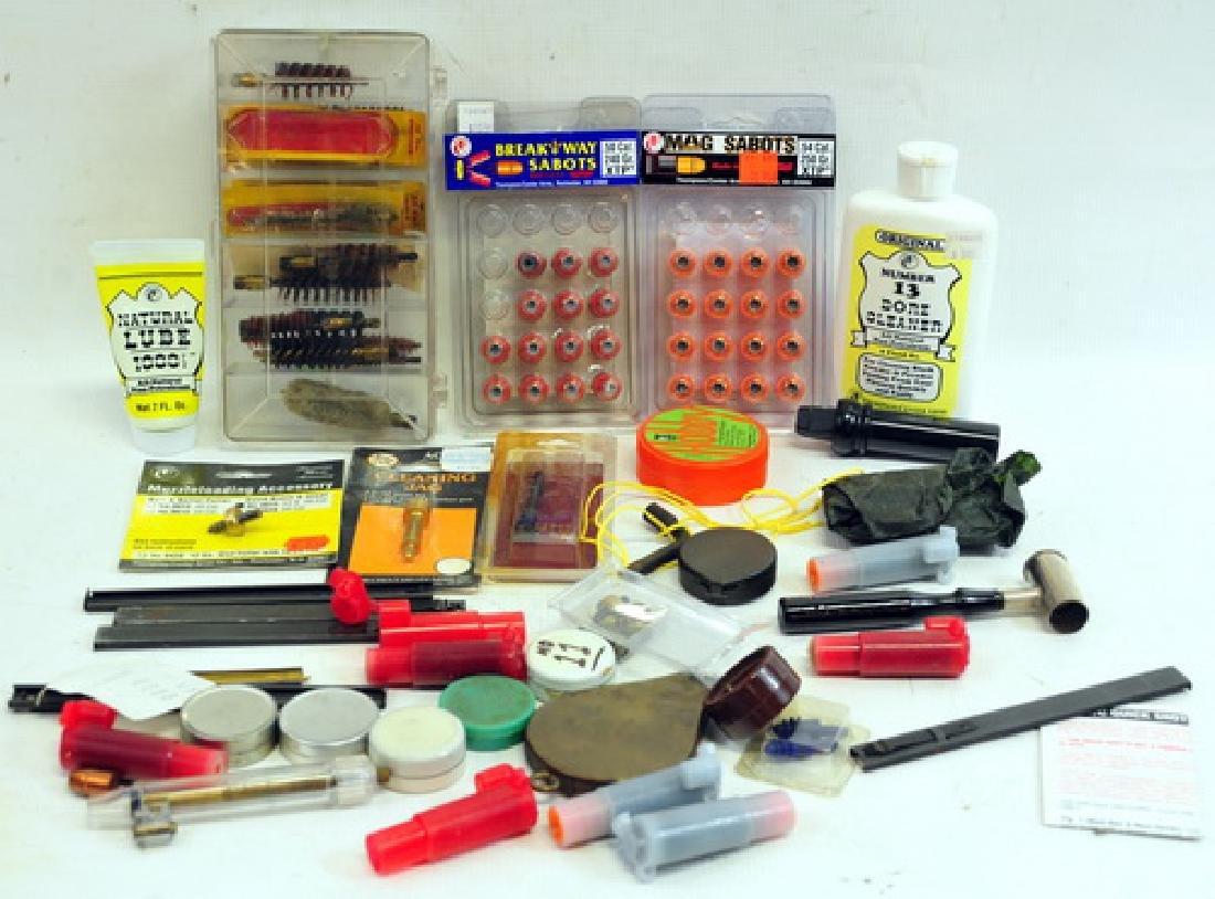 Assortment of Black Powder shooting supplies