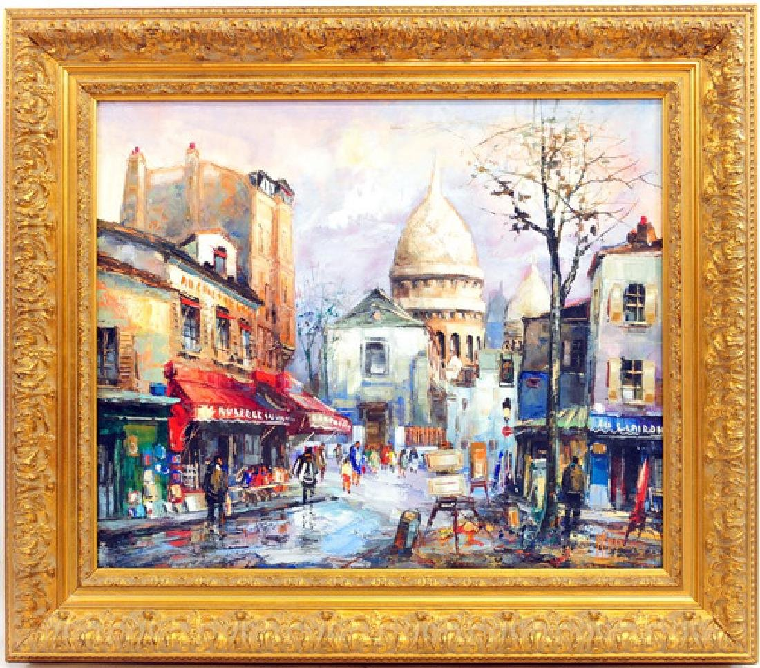 Oil ON Canvas Decorative European Street Scene
