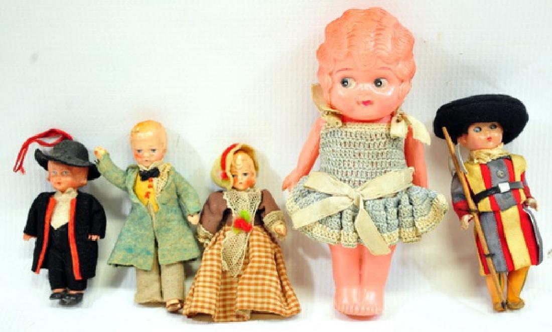 Four 1930's Mini Celluloid Dolls/1 Japanese Doll