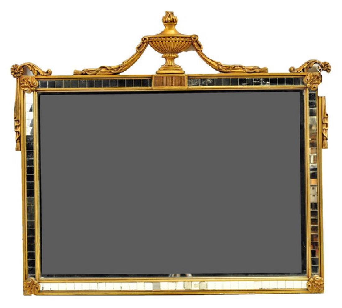 Large Rectangular Art Deco Mirror In Gold Frame