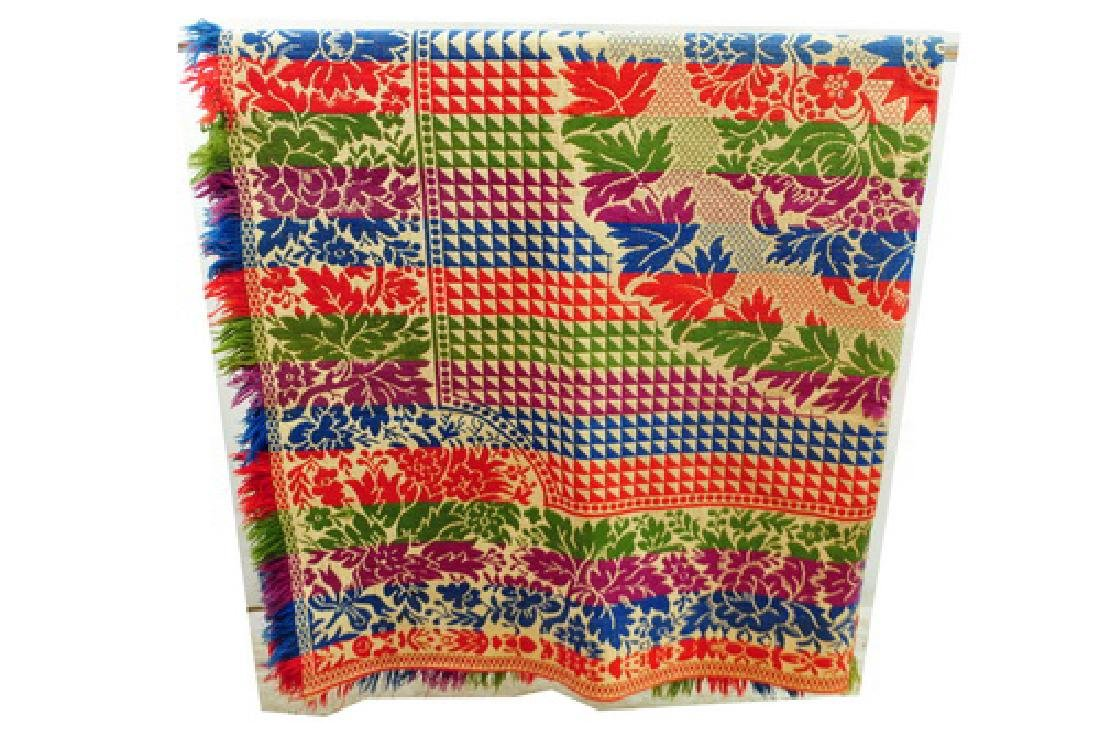 Vintage Multi Colored Coverlet