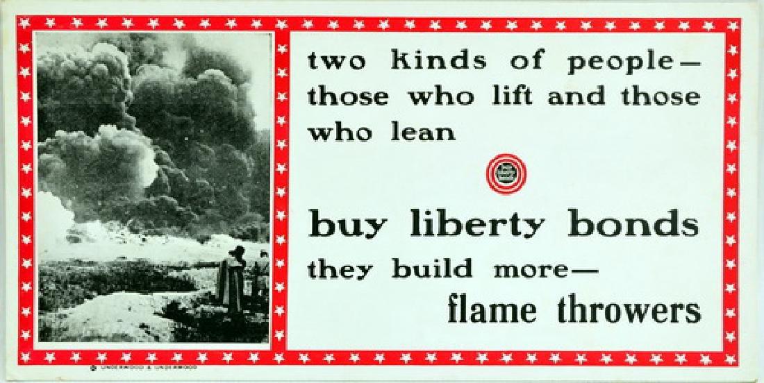 Rare WWI Die Cut Propaganda Trolley Insert Sign