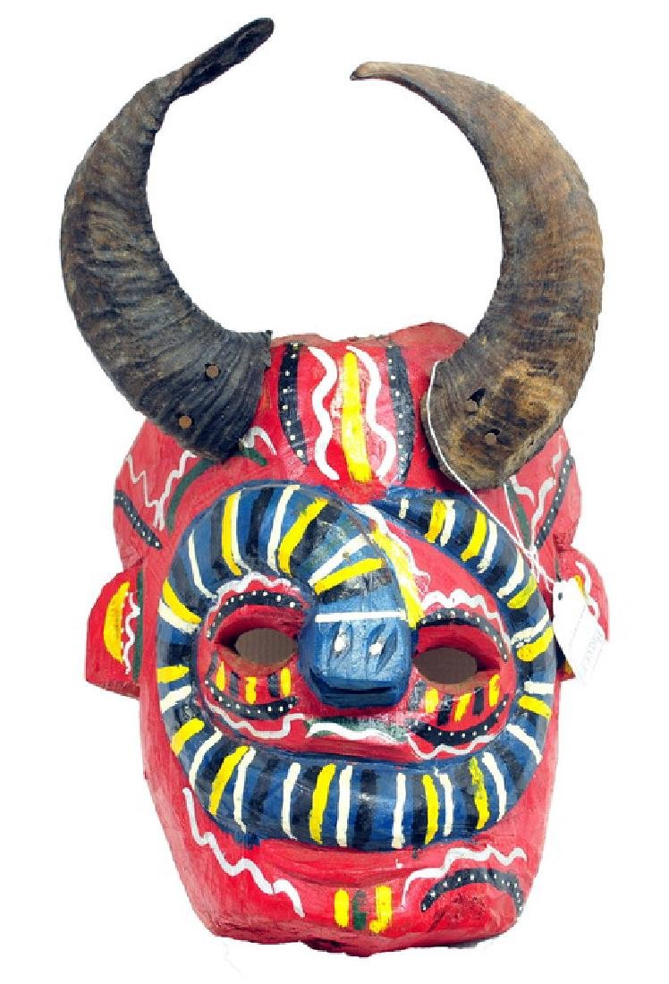 African Artifact  Ceremonial Mask With Horns