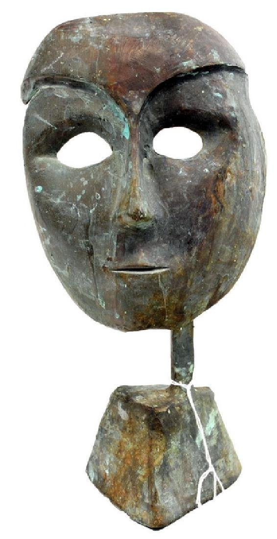 African Artifact  Bronze Mask on Stand