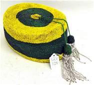 African Artifact  Yoruba Beaded Hat