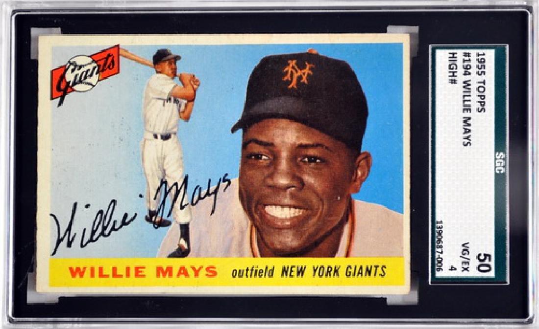 1955 Topps Willie Mays Sgc 50 Vg/ex 4