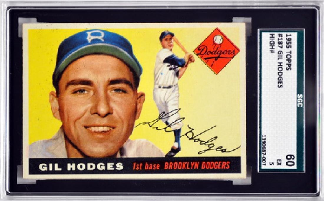 1955 Topps Gil Hodges Sgc Graded 60 Ex 5