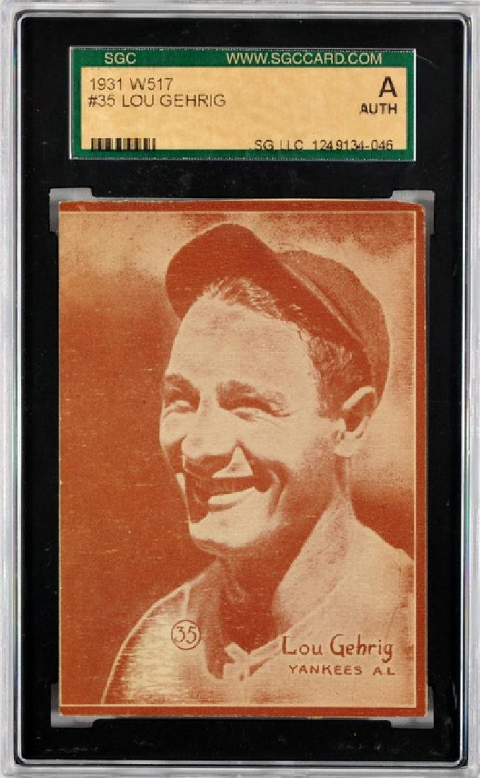 1931 W517 Lou Gehrig Card Sgc Authentic