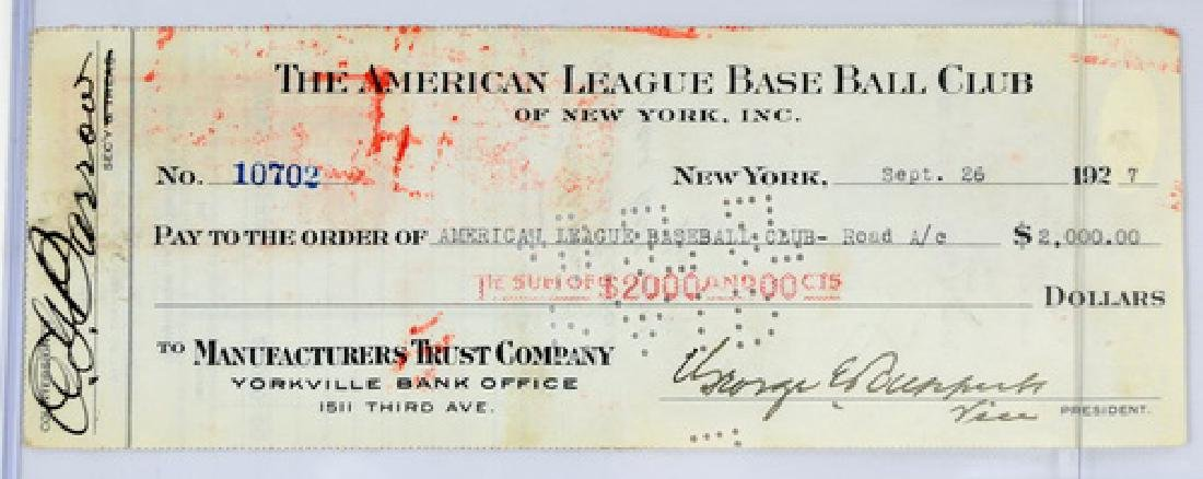 1927 Ny Yankees Check  Signed Barrow/ruppert