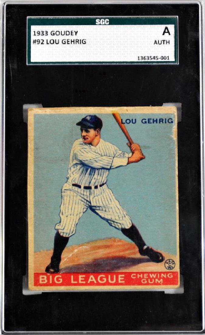 1933 Goudey Lou Gehrig Sgc Authentic