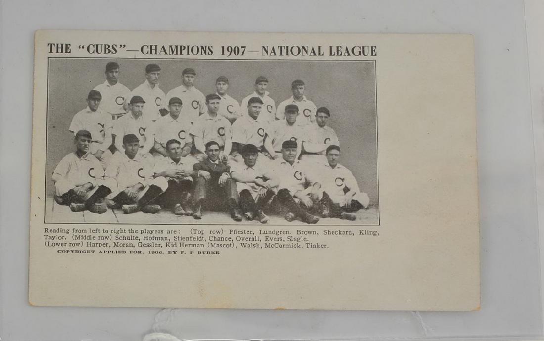 1907 Chicago Cubs National League Champs Postcard