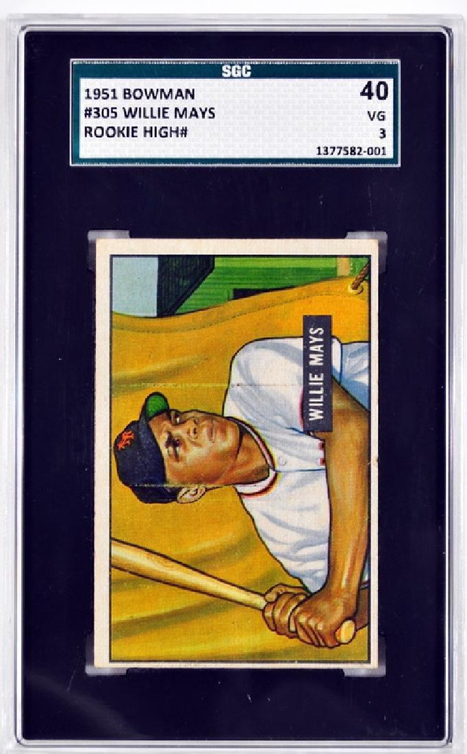 1951 Bowman Willie Mays Rookie Card SGC 40 VG 3