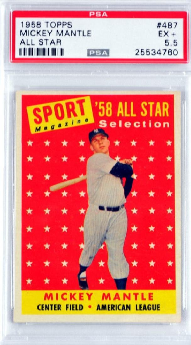 1958 Topps Mickey Mantle All-star Psa 5.5