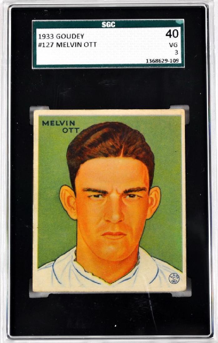 1933 Goudey Mel Ott Sgc Graded 40 Vg 3
